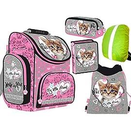 5-teiliges-Schulranzenset-My-Little-Friend-Ranzen-Schulranzen-Federtasche-Turnbeutel-Schlamperetui-Regenschutz-Kinder-Katze-Cat