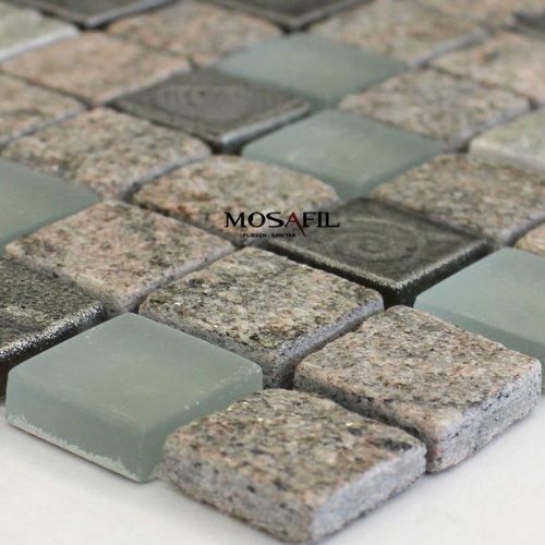 Quarzit Glas Naturstein Mosaik Fliesen 23x23x8mm