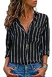 Avanon S-3XL Streifen Bluse Damen Oberteile Chiffon Elegante Herbst Langarmshirts V-Ausschnitt Knöpfe Shirts Langarm Hemd (A Schwarz-Weiß, L)