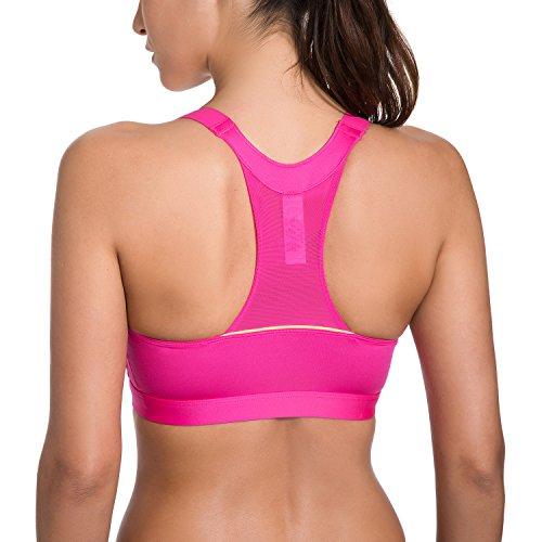 SYROKAN Femme Soutien-gorge de Sport Sans Armatures Fermeture Zippé Avant Bouton Hot Pink