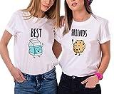 JWBBU Best Friends T Shirt Pour 2 Fille Impression des Lait et Cookies Intéressant Femmes à Manches Courtes Par (Best-M+Friends-L, Blanc)