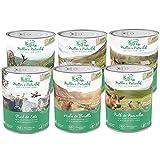 Müllers Naturhof | Mix | 6 x 800 g | Nassfutter für Alle Hunderassen | getreidefrei und glutenfrei | mit Gartengemüse und Wiesenkräutern | naturnahe Rezeptur mit 65% Fleisch