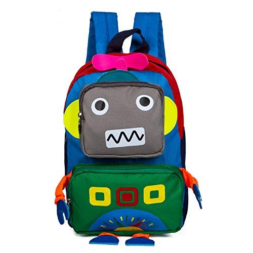 Zaino Bambini Ragazze Ragazzi Zainetto Bimbi da Viaggio Scuola, Robot Blu