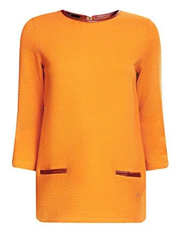oodji Ultra Damen Pullover aus Strukturiertem Stoff mit Kunstlederbesatz Gelb (5200N)
