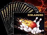 Bowling Einladungskarten-Set (10694) zum Kindergeburtstag, Bowling-Party oder zum Kegel-Abend - Die heisse Alternativ zu
