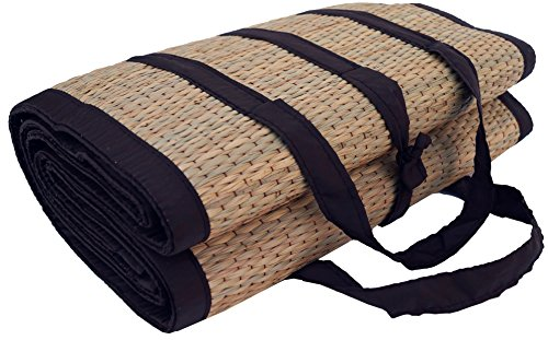 Guru-Shop Faltbare Naturfaser Bodenmatte, Strandmatte, Picknickdecke - als Tragetasche Faltbar, Braun, 200x100x0,5 cm, Teppiche, Bodenmatten