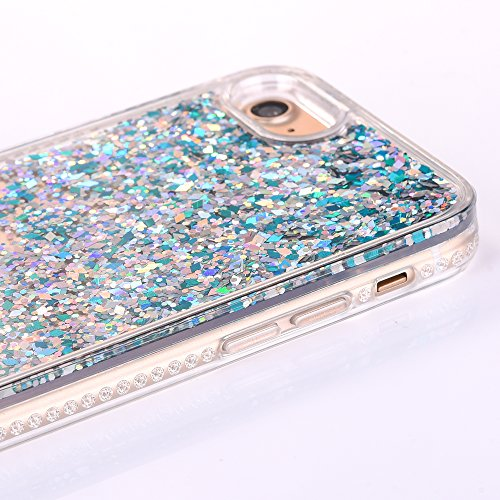 "iPhone 7 Hülle, iPhone 7 Handytasche, CLTPY 3D Dynamisch Treibsand Flüssige Fließend Glitzer Sparkle Diamant Hartplastik & Soft TPU Hybrid Transparent Schale Case für 4.7"" Apple iPhone 7 + 1 x Griffel Blauer Diamant"
