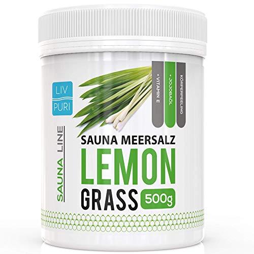 Sauna Meersalz Peeling Salz Saunasalz | Lemongrass 500g | mit Jojobaöl | Kosmetik für die Haut | Ideale Wellness