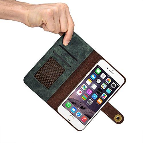 Wkae Retro magnetischer horizontaler Schlag-Leder-Kasten mit Karten-Schlitzen u. Mappe u. Foto-Rahmen u. Abnehmbare rückseitige Abdeckung für iPhone 6s ( Color : Green ) Green