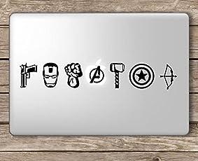 ARWY Laptop Stickers 15.6 inch Avengers Symbols Superhero Marvel Laptop Vinyl Sticker (Black) Standard Size