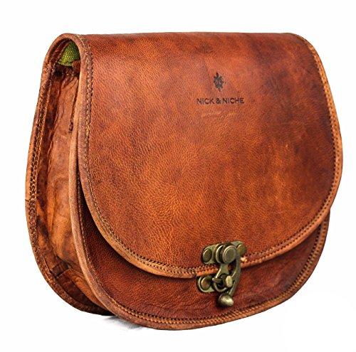 NICK & NICHE Sling Handcrafted Vintage Style Echtes Leder Handtasche umhängetasche damen leder -