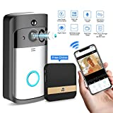 Smart Video Doorbell Wireless Home Security Anti-Theft Camera with Indoor Chime, 8G SD Card, Free Cloud Service, 2 Batteries, 2-Way Talk, 720P, Night Vision, PIR Motion Detection iOS Android