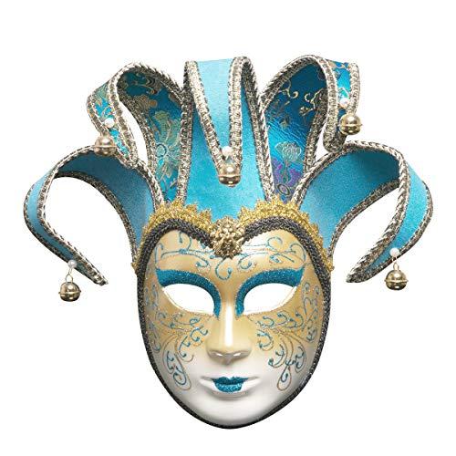 Wawer Party Spielzeug Maske Venezianische Joker Maske Vollmaske Maskerade Theatermaske Karneval-Weihnachtsfeier Prom Maske Cosplay Kostüm Zubehör (Hellblau) - Krieg Maske Für Erwachsene