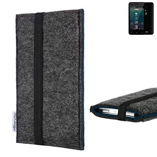 flat.design Handyhülle Lagoa für Allview P42   Farbe: anthrazit/blau   Smartphone-Tasche aus Filz   Handy Schutzhülle  Handytasche Made in Germany
