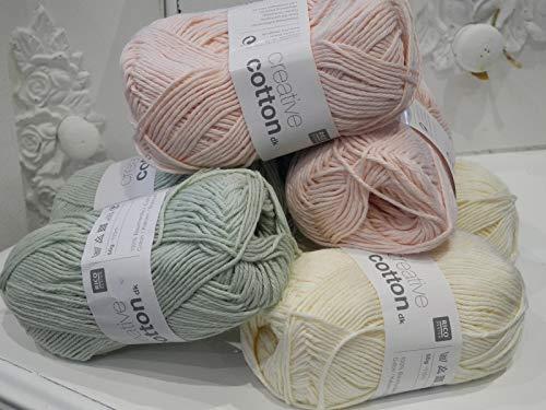 Qjutie Lottashaus 6 Stück jeweils 50g Strickset Set Wolle Babywolle Rosa Creme Mint 100% Baumwolle...