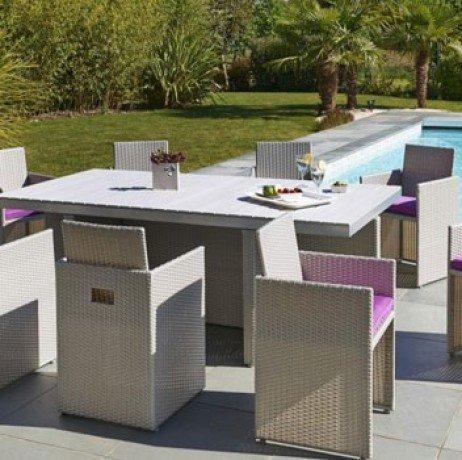 Salon de jardin encastrable 8 pl. résine tressée 1 table + 8 fauteuils PVC-8-COMPO-N