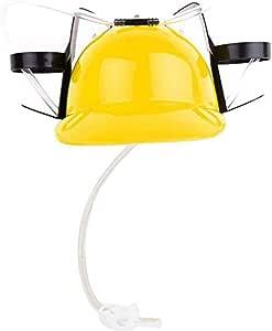 EFINNY Drinking Helmet Beverage Helmet Drinking Beer Soda Miner Can Holder Hat Lazy Straw Cap Birthday Party Prop Toy