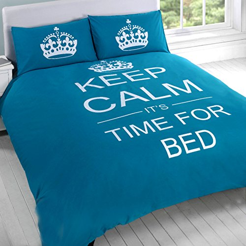 "Just Contempo - Copripiumino con motivo ""Keep Calm and It's Time for Bed"", set di biancheria da letto, Misto cotone, Foglia di tè, trapunta singola"