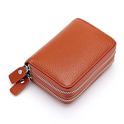 Azue Akkordeon Stil Reißverschlüssen Geldbörse Geldtasche Brieftasche Kartentashce Kartenbörse Braun (Aktentasche Akkordeon)