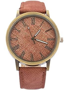 MJartoria Damen Retro Armbanduhr Modeschmuck Denim Mode Design Römische Ziffer Quarz Uhr für Studentin Braun