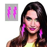 NET TOYS Orecchini a Fulmine Colore Neon - Rosa Fucsia | Orecchini Anni 80 | Gioielli Anni ottanta | Accessorio Costume Discoteca