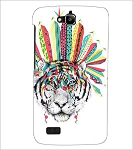 PrintDhaba Tiger face D-5280 Back Case Cover for HUAWEI HONOR HOLLY (Multi-Coloured)
