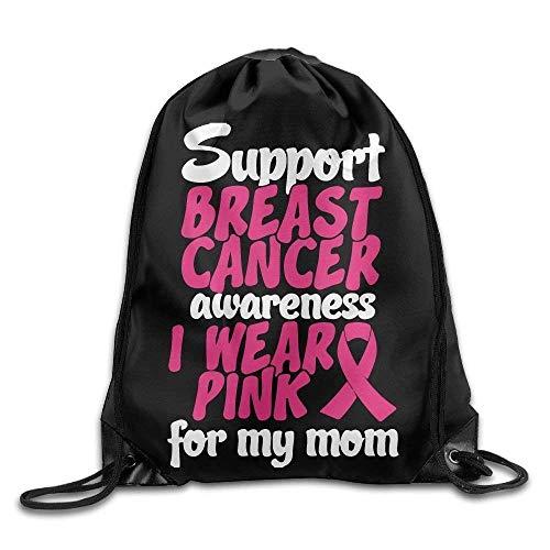 87045ee6a4a Icndpshorts I Wear Pink for My Mom Drawstring Backpack Beam Mouth Sport Bag  Rucksack Shoulder Bags