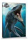1art1 115428 Jurassic World - Das Verlorene Königreich, Mosasaurus Poster Leinwandbild auf Keilrahmen 80 x 60 cm