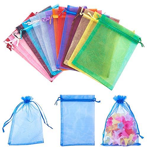 Pandahall elite 150 pezzi sacchetti in organza con nastri per confezione regalo fiesta matrimonio bomboniere rettangolo colore misto 18x13cm, 10 pz/colore, 150 pezzi/set