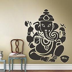 """Vinilo adhesivo para pared de habitación, de elefante, Ganesh, decoración, dormitorio, Dios Om Yoga Buda Mandala Ganapati, vinilo, negro, 72""""hx60""""w"""