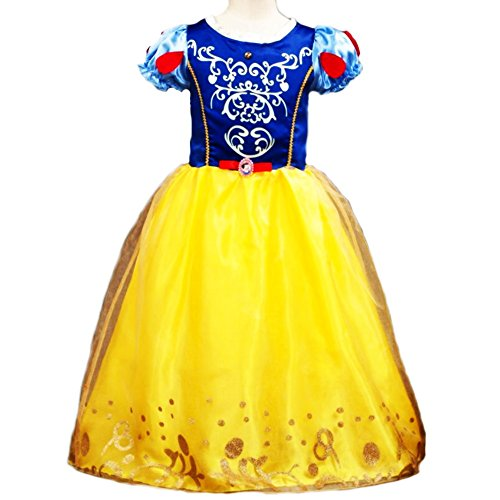 Little Girls Snow Princess Kostüm Puff Sleeve Dress Cosplay Halloween Geburtstag Party Kleid Fancy ()