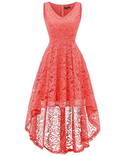 bridesmay Damen Hi-Lo Spitzenkleid Ärmellos Unregelmässig Vokuhila Kleid Cocktailkleid Brautjungfernkleider Coral 2XL