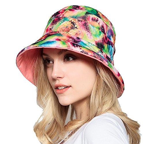 Chapeau Mode des femmes été de plage Grand Brim antisolaire Chapeau anti-UV pliable Pink