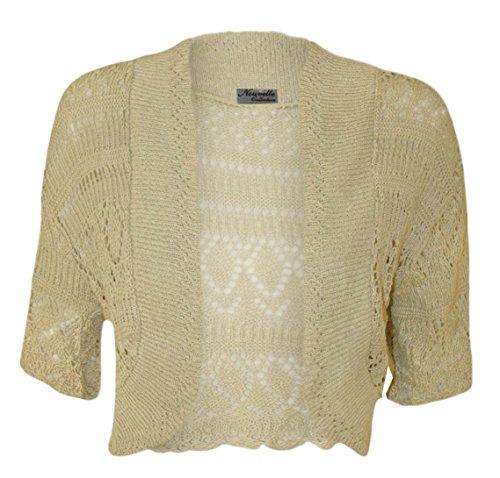 Bolero, da donna, lavorato a maglia, a maniche corte Stone