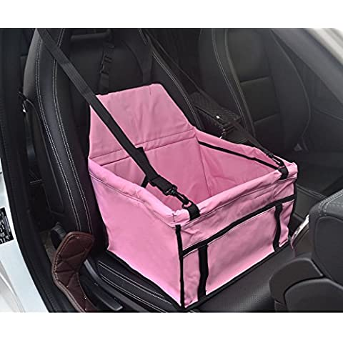Dog Car Seat Pet Booster Seat with Clip-on for Cat Dog Leash Easy Folding Waterproof (Pink)