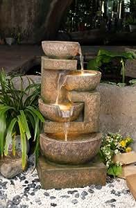 Fontaine d'Extérieur 4 Bols Effet Pierre - Lumière