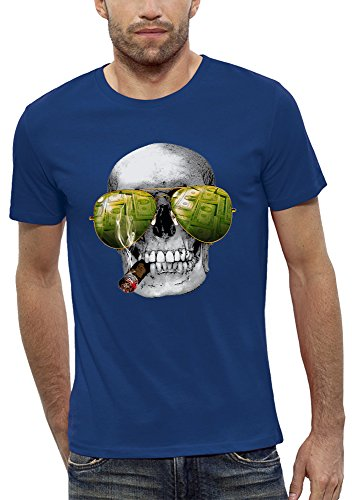 Camiseta 3D CRÁNEO CASINO de Realidad Aumentada - PIXEL EVOLUTION - Hombre - talla XXL - Azul Real