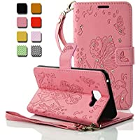 Coque Samsung Galaxy A3 2016, Wanxideng - Housse en Cuir PU Étui Pochette à Rabat avec Support & Sangle - Case Cover Fille de Papillon en Relief avec Cristal Diamant Scintillant - Rose