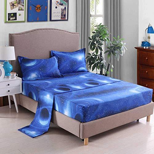 WENXIAOXU Weiche blätter Bett schoner Bezug mit Nässeschutz,Schutz Warm Atmungsaktive schoner Baumwolle WasserundurchFreizeit Anti-Allergisch,Sternenhimmel A-2 King