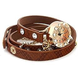 PromiseU Leather Bracelet Woman Rhinestone Rivet Chain Quartz Wrist Watch