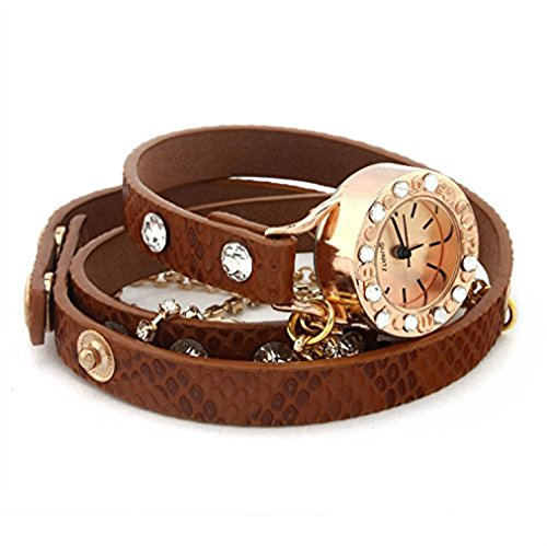 PromiseU-Leather-Bracelet-Woman-Rhinestone-Rivet-Chain-Quartz-Wrist-Watch