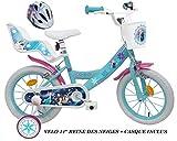 Reine Des Nieves - Bicicleta Infantil de Frozen, 14 Pulgadas + Casco Incluido.