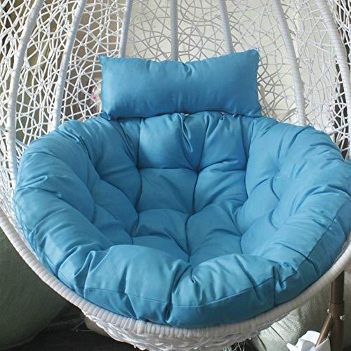 Tina Hängende sitzkissen für hängematten, Runde Fluffy Baumwolle Wicker Hängende Ei stuhlkissen Pad Terrasse Jardin-Himmelblau 105x105cm(41x41inch) -