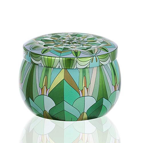 Münzen Pille Versiegelter Jar TrinkComment Container Dampproof Tea Pot Tin Candy Iron Box Flower Tinplate Trommelform Kerze(Green) Green Cookie Jar