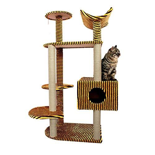 Pet Cuisine Albero Tiragraffi, Cat Tower/Cat Activity Trees Condo Furniture/Multi-Level Cat Tree Condo Furniture/with Sisal-Covered Scratching Posts (Color : Yellow Black Stripes)