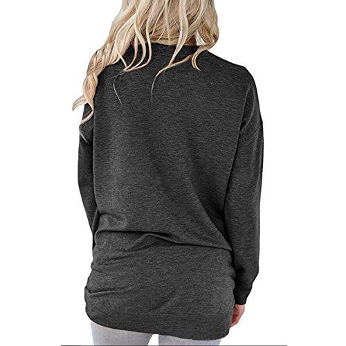 Miavogo Damen T-Shirt Langarmshirt Pullover Oberteile Langarm Rundhals Casual Schwarz