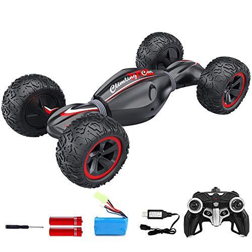 Pinjeer Verlängern Allradantrieb Geländewagen Fernbedienung Auto Klettern Twisted Car Charging Mobile Racing Kinder Spielzeugauto Junge Geschenke für Kinder 3+ (Color : Red, Größe : 2-Battery)