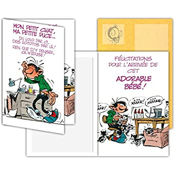 Gaston Lagaffe Glct 0131 Carte Naissance Félicitations Avec Motifs Bébé Garçonfillepapamamanhumourbonheur