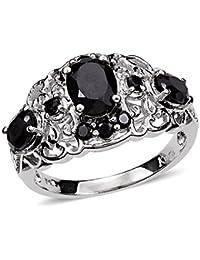 Vaibhav Black Cluster Brass Oval Shape Ring 3.17 Cts Gemstone for Women