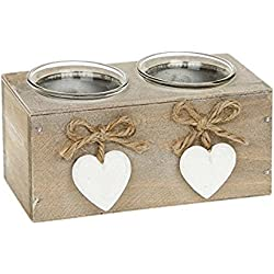 Portavelas de Provence/Shappy Chic/de madera con diseño de corazones..., Double Brown